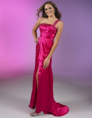 Red Prom Dresses - One Shoulder Sweep Train Sheath Column Sleeveless Red Evening Dress at www.promdressbycolor.com
