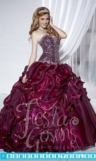 Red Prom Dresses - Sequined Strapless Sweetheart Quince Gown at www.promdressbycolor.com