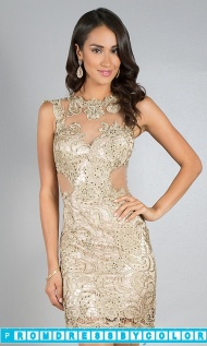 Red Prom Dresses - Short Sleeveless Lace Dress by Dave and Johnny at www.promdressbycolor.com