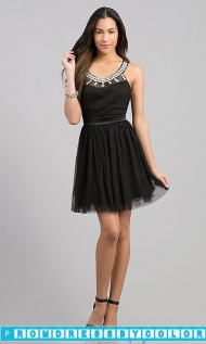 $149 Black Prom Dresses - Short Sleeveless Black Dress at www.promdressbycolor.com