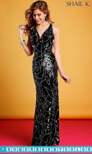$369 Black Prom Dresses - Black and Silver V-Neck Sequin Dress  at www.promdressbycolor.com