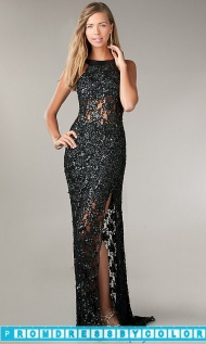 $204 Black Prom Dresses - Floor Length Sequin Open Back Dress at www.promdressbycolor.com